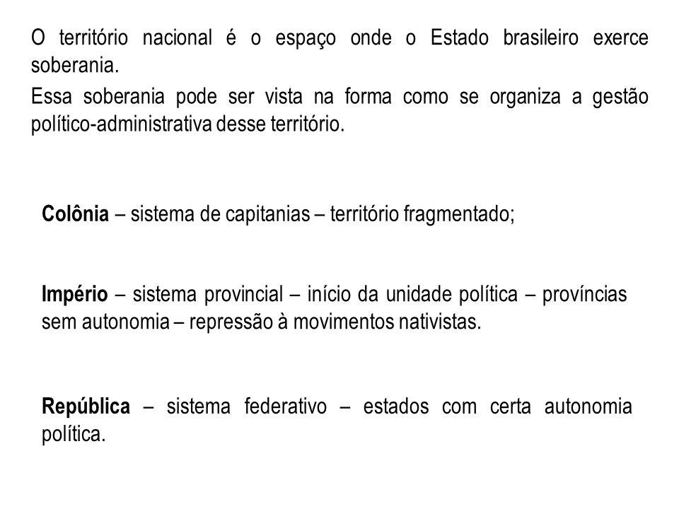 O território nacional é o espaço onde o Estado brasileiro exerce soberania.