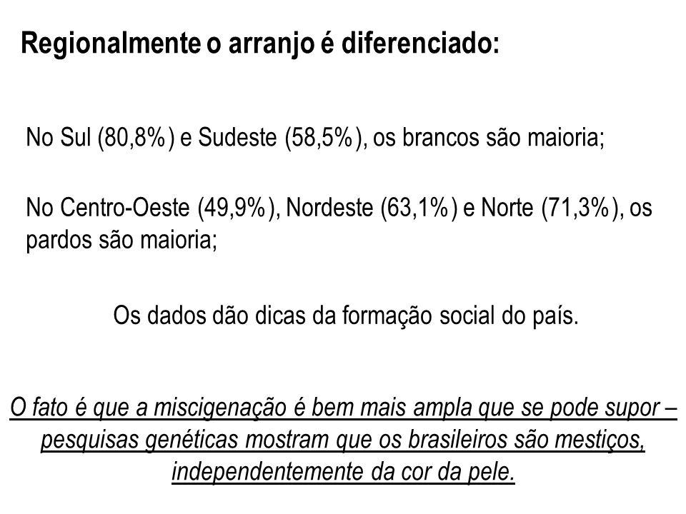 Os dados dão dicas da formação social do país.