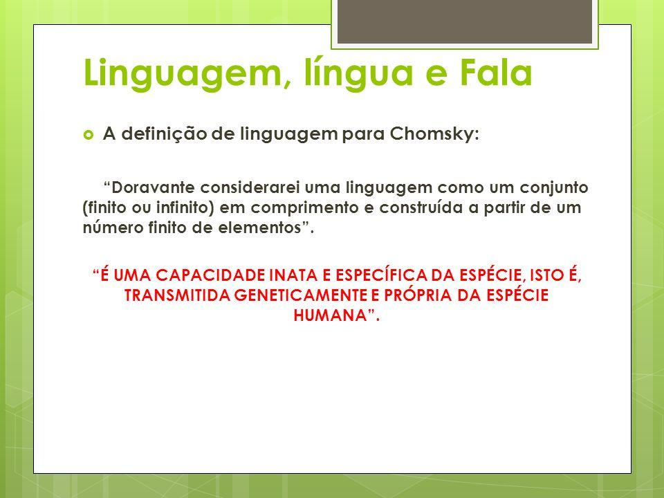 Linguagem, língua e Fala