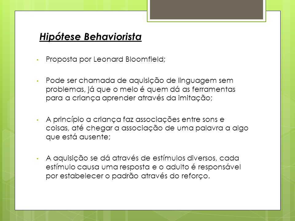 Hipótese Behaviorista