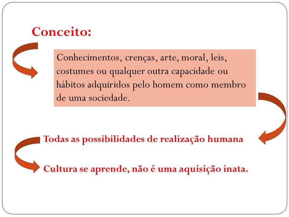 Conceito: Todas as possibilidades de realização humana. Cultura se aprende, não é uma aquisição inata.