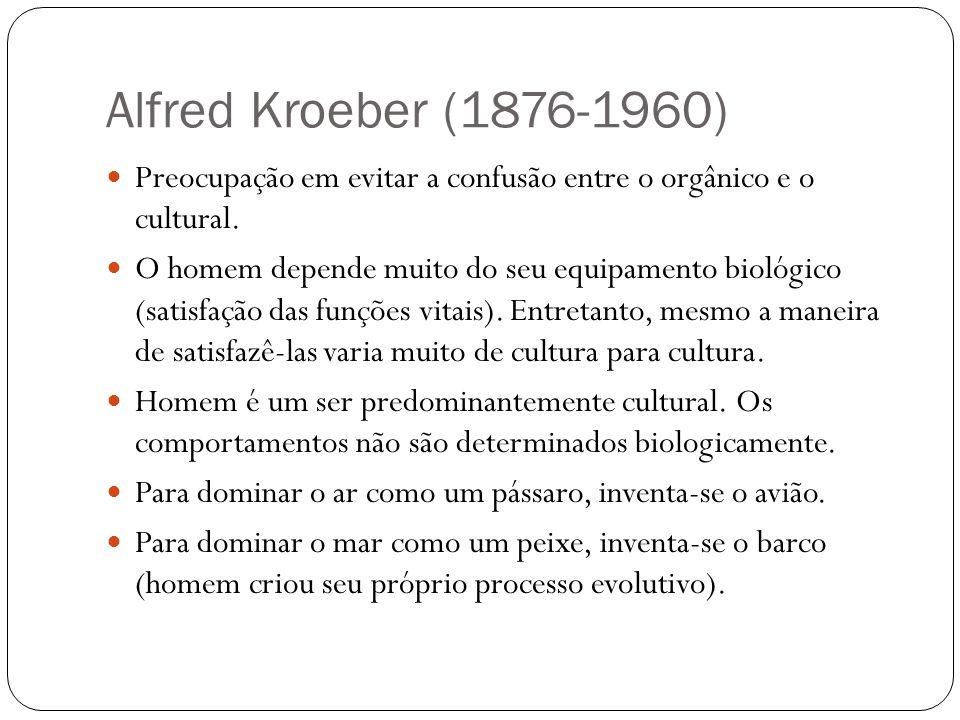 Alfred Kroeber (1876-1960) Preocupação em evitar a confusão entre o orgânico e o cultural.