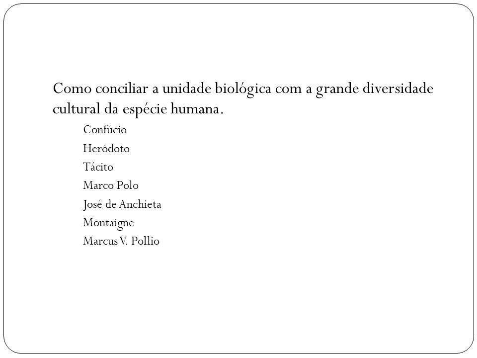 Como conciliar a unidade biológica com a grande diversidade cultural da espécie humana.