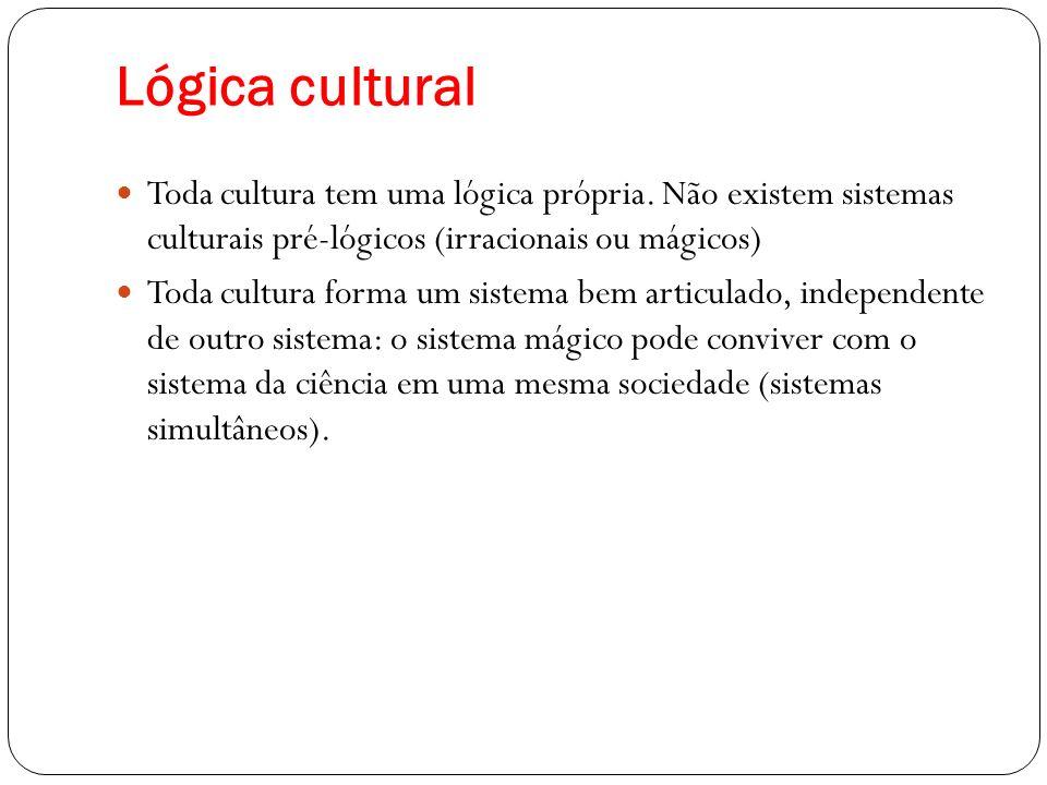 Lógica cultural Toda cultura tem uma lógica própria. Não existem sistemas culturais pré-lógicos (irracionais ou mágicos)