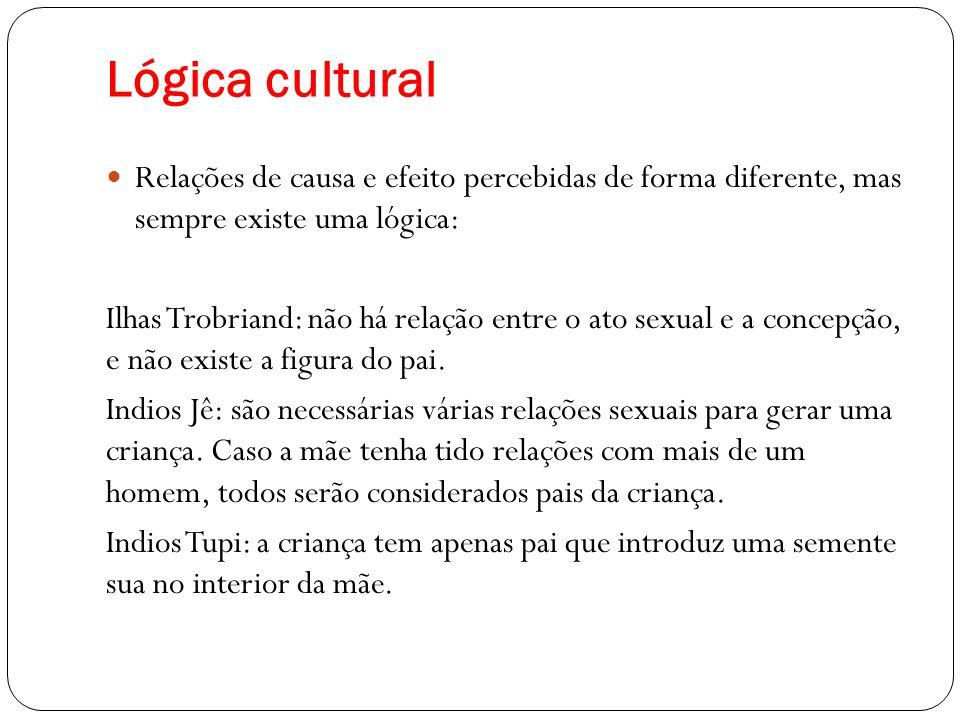 Lógica cultural Relações de causa e efeito percebidas de forma diferente, mas sempre existe uma lógica: