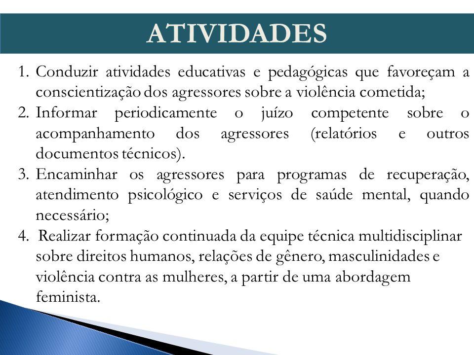 ATIVIDADES Conduzir atividades educativas e pedagógicas que favoreçam a conscientização dos agressores sobre a violência cometida;