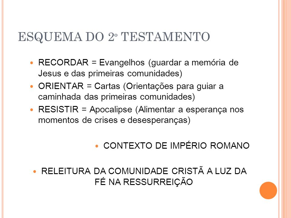 ESQUEMA DO 2º TESTAMENTO
