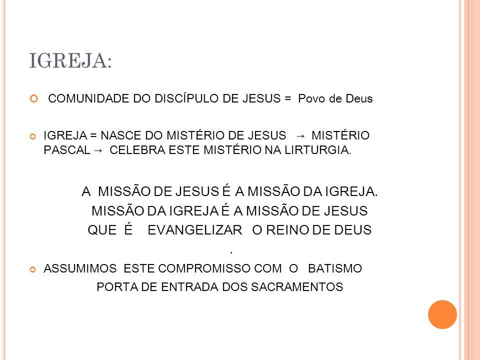 IGREJA: COMUNIDADE DO DISCÍPULO DE JESUS = Povo de Deus