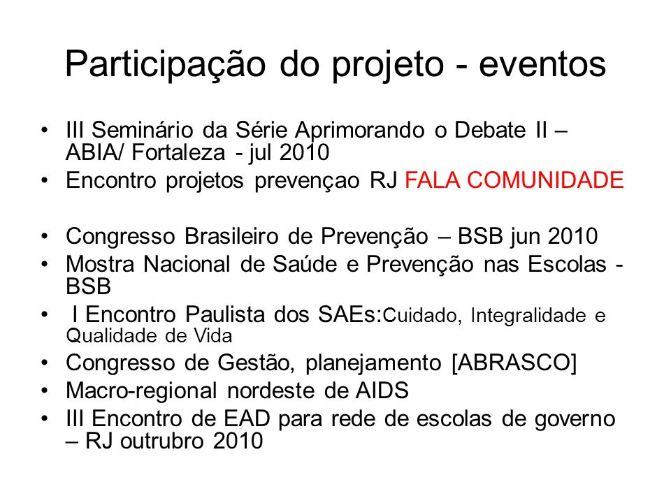 Participação do projeto - eventos