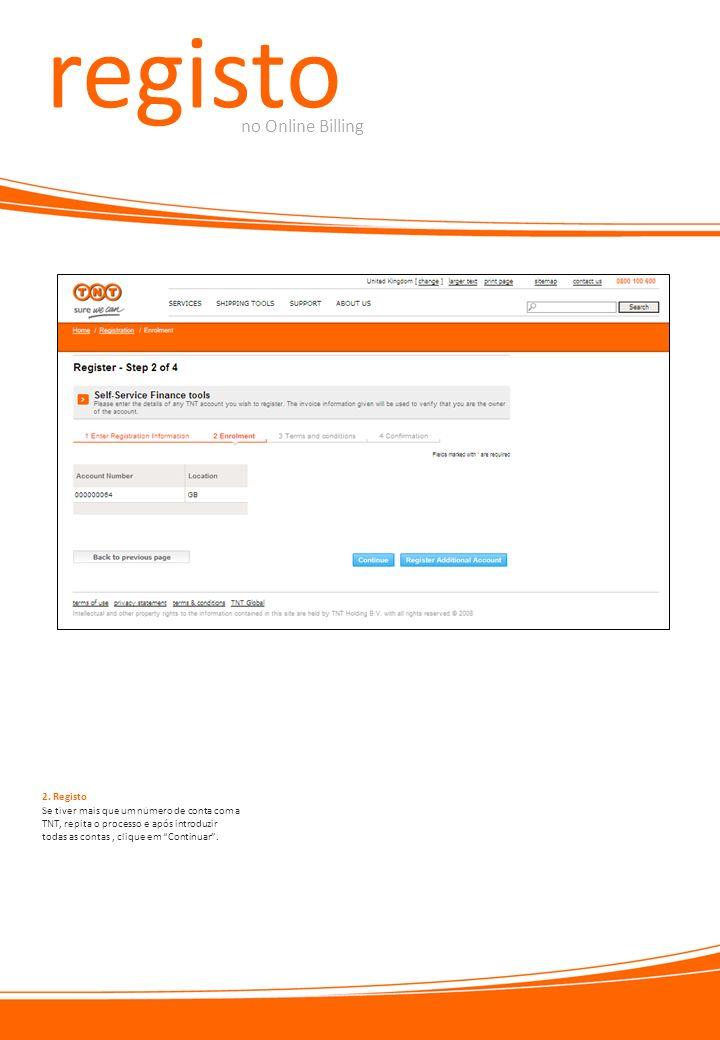 registo no Online Billing 2. Registo