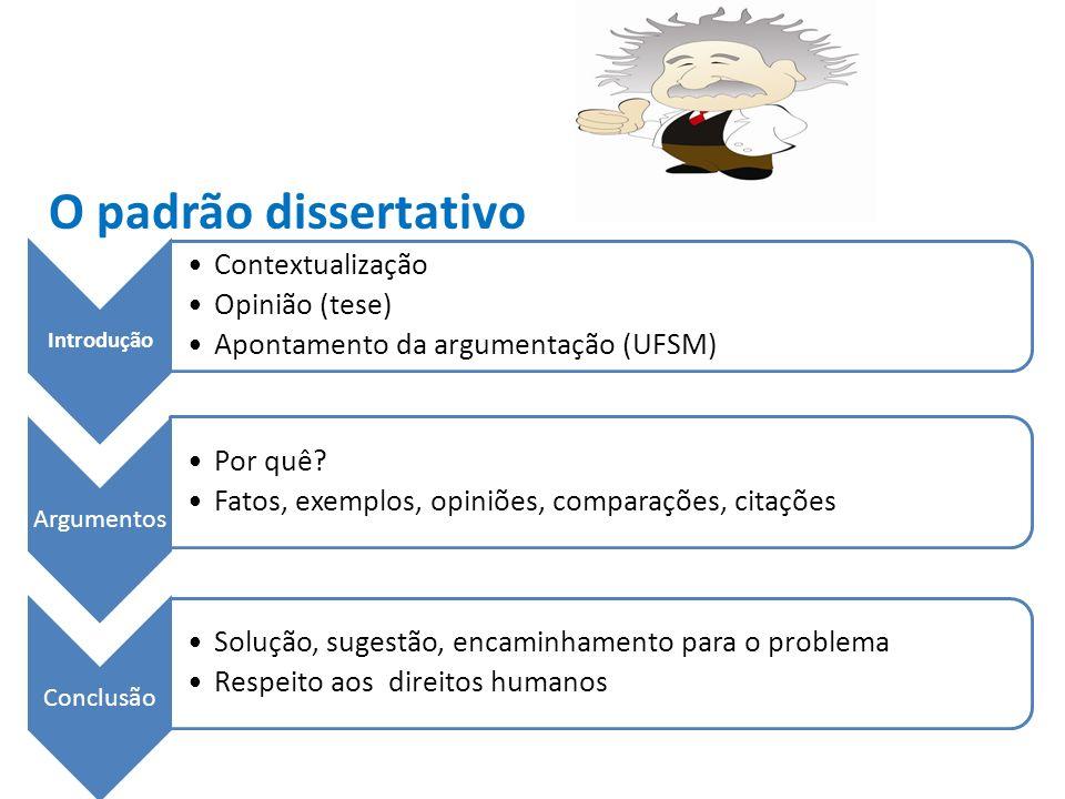 O padrão dissertativo Introdução Contextualização Opinião (tese)