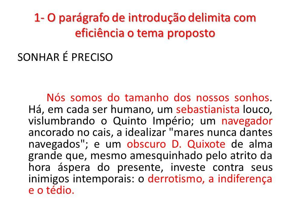 1- O parágrafo de introdução delimita com eficiência o tema proposto