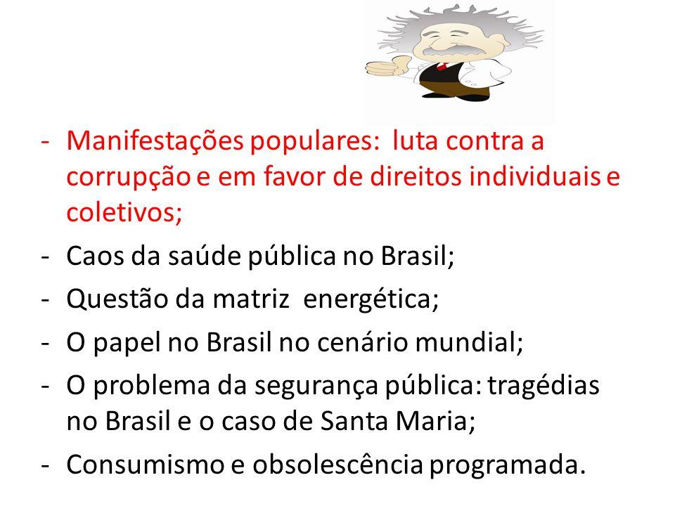 Manifestações populares: luta contra a corrupção e em favor de direitos individuais e coletivos;