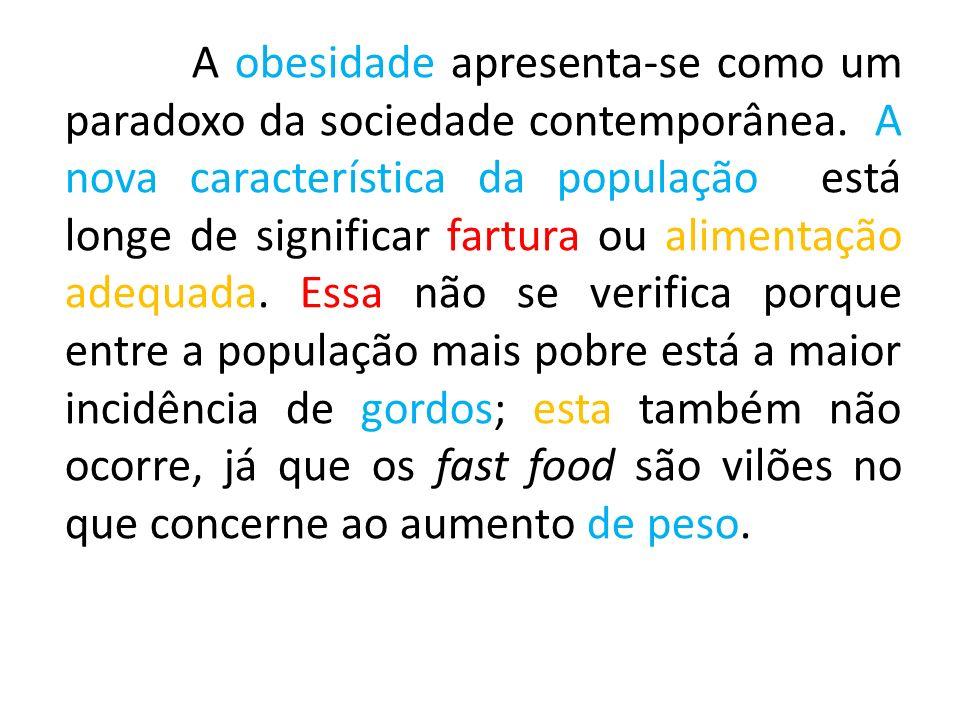 A obesidade apresenta-se como um paradoxo da sociedade contemporânea