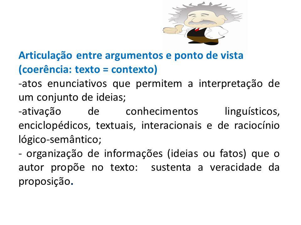 Articulação entre argumentos e ponto de vista (coerência: texto = contexto)