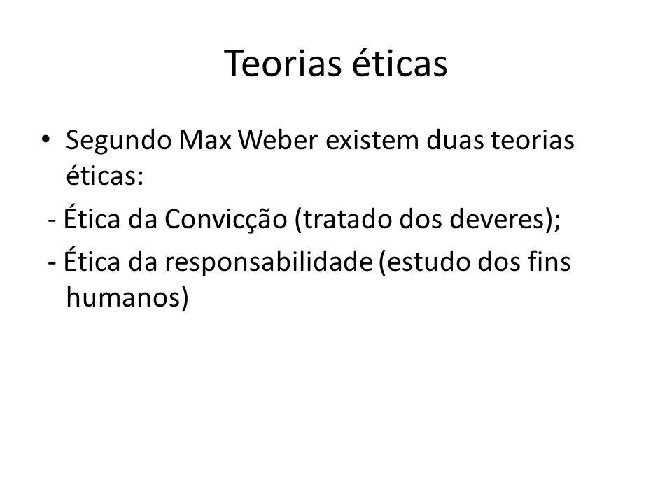 Teorias éticas Segundo Max Weber existem duas teorias éticas: