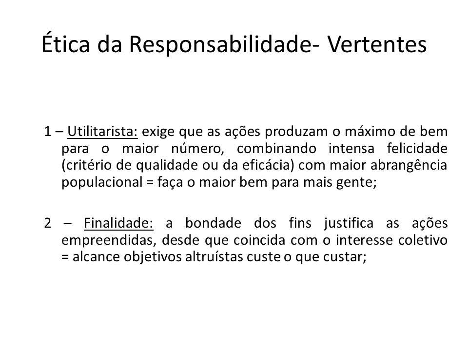 Ética da Responsabilidade- Vertentes