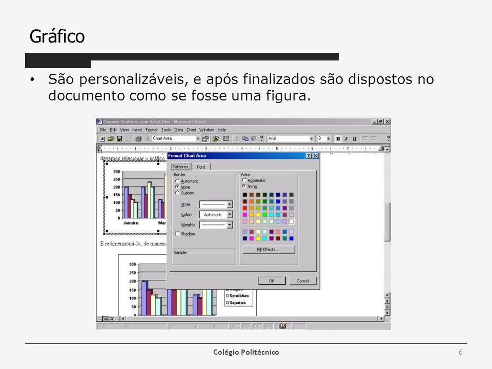 Gráfico São personalizáveis, e após finalizados são dispostos no documento como se fosse uma figura.