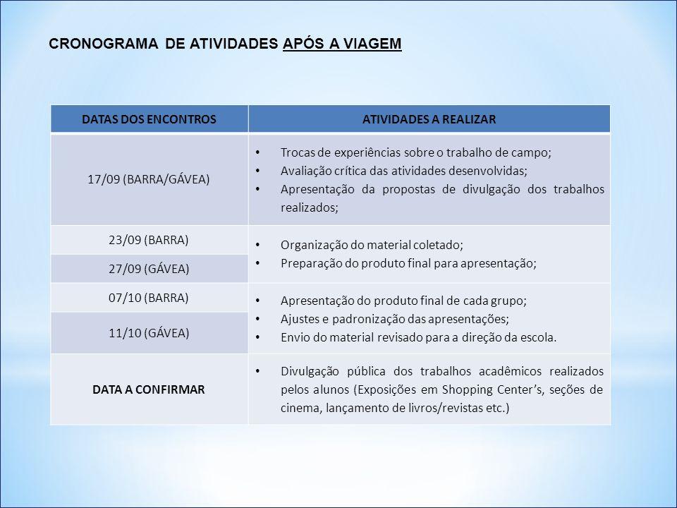 CRONOGRAMA DE ATIVIDADES APÓS A VIAGEM