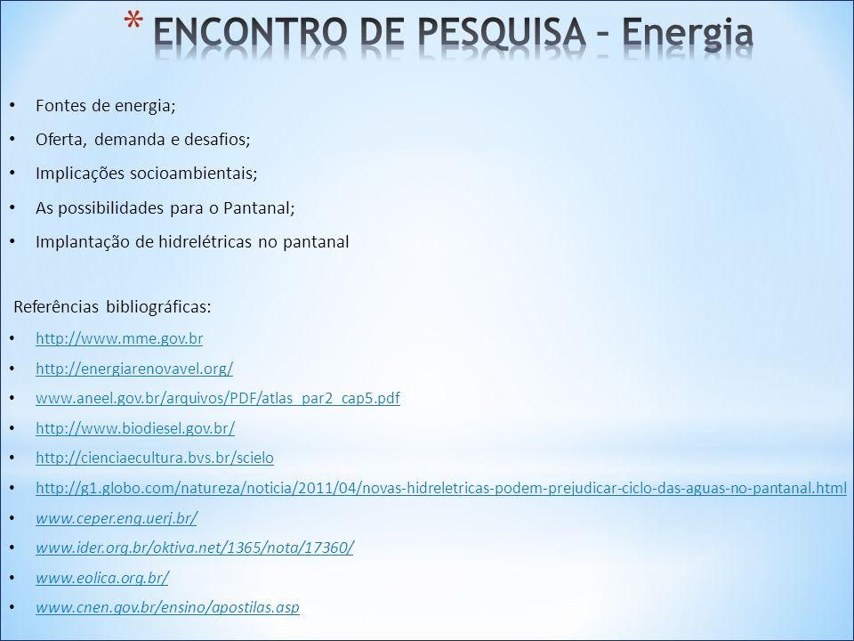 ENCONTRO DE PESQUISA – Energia