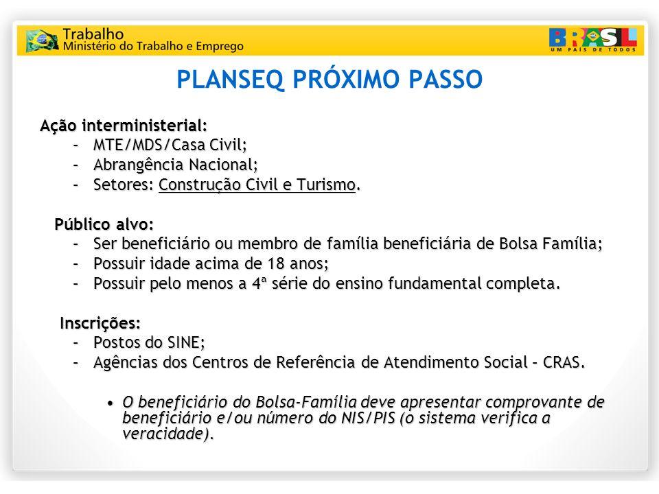 PLANSEQ PRÓXIMO PASSO Ação interministerial: MTE/MDS/Casa Civil;