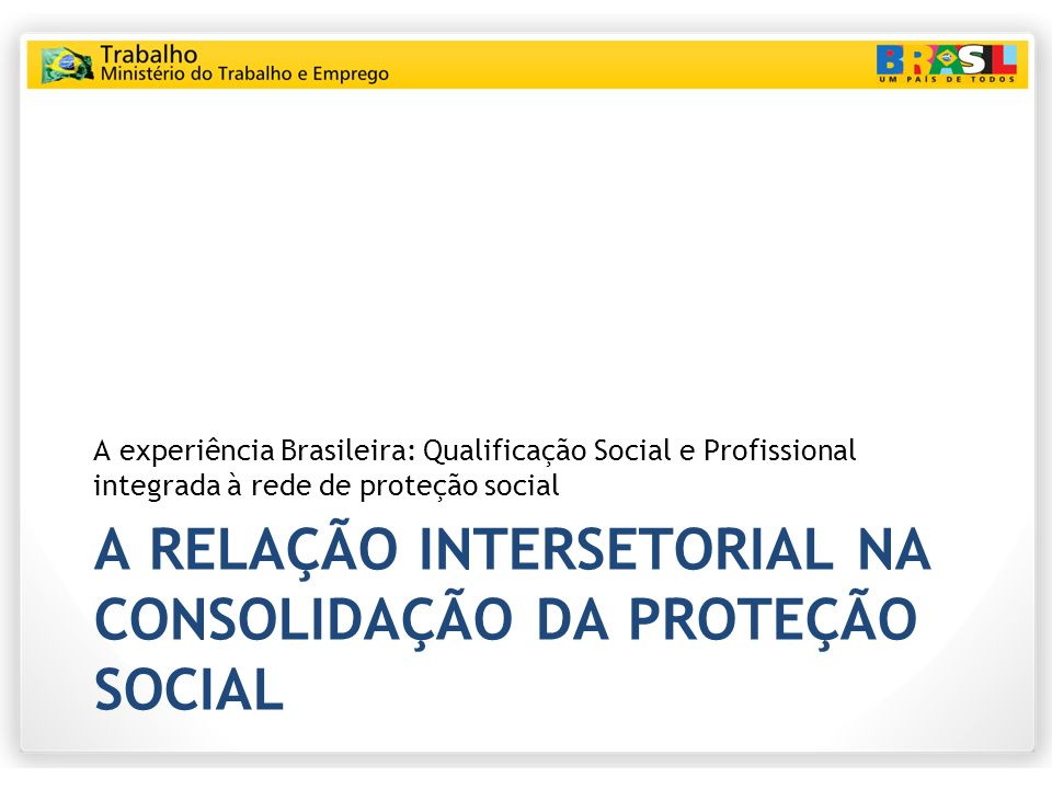 A relação intersetorial na consolidação da proteção social