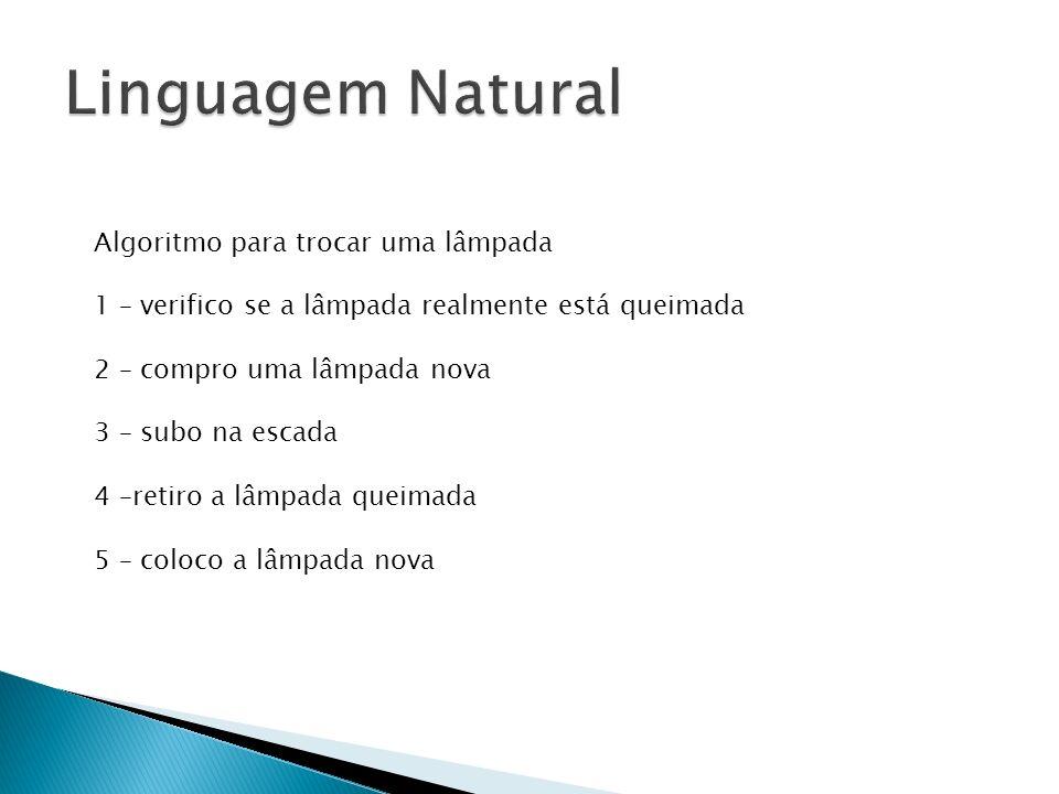 Linguagem Natural Algoritmo para trocar uma lâmpada