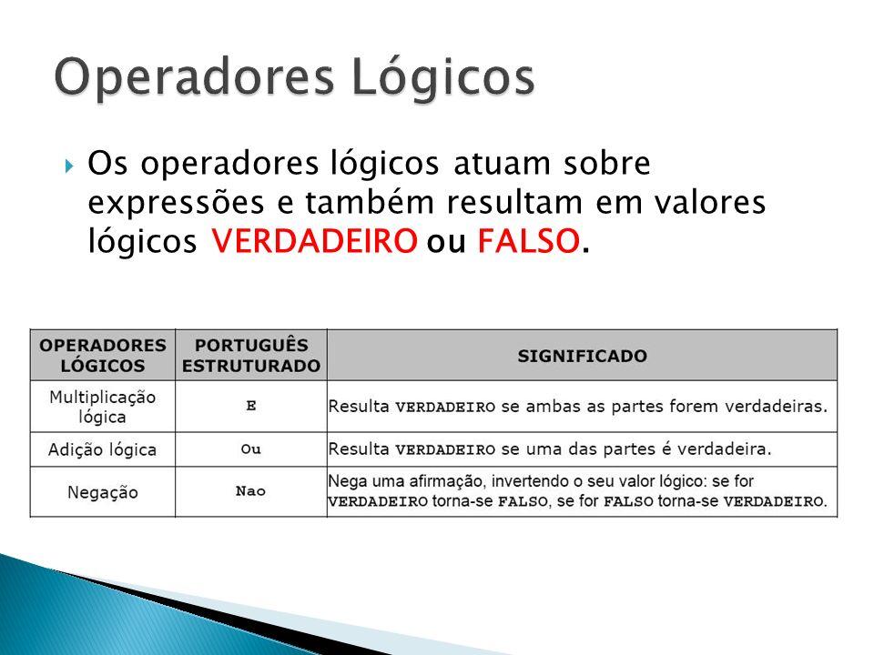 Operadores Lógicos Os operadores lógicos atuam sobre expressões e também resultam em valores lógicos VERDADEIRO ou FALSO.