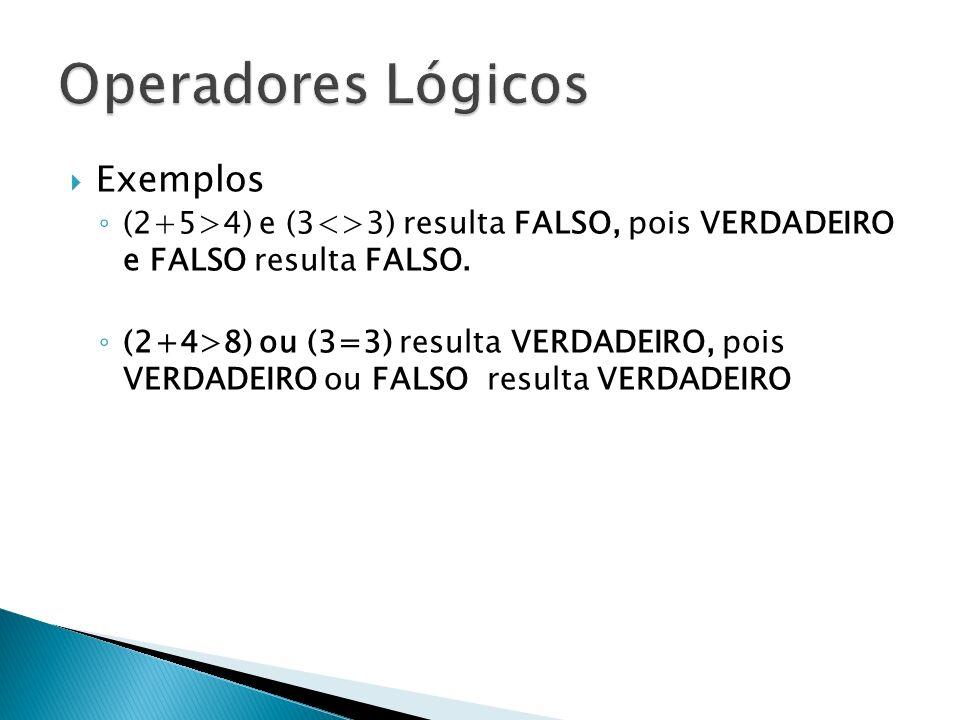 Operadores Lógicos Exemplos