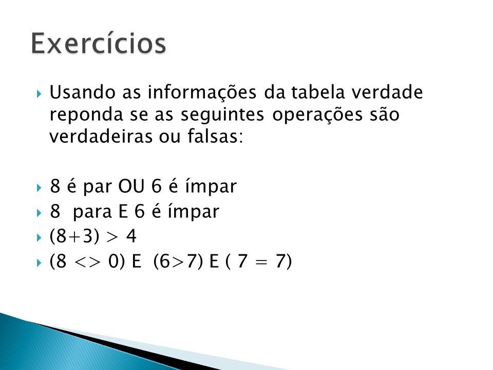 Exercícios Usando as informações da tabela verdade reponda se as seguintes operações são verdadeiras ou falsas: