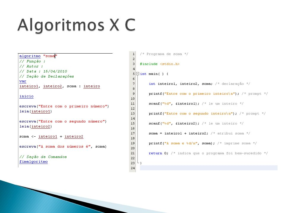 Algoritmos X C