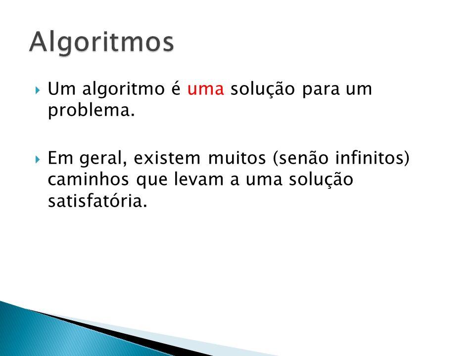 Algoritmos Um algoritmo é uma solução para um problema.