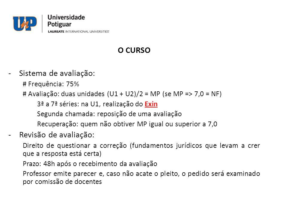 O CURSO Sistema de avaliação: Revisão de avaliação: # Frequência: 75%