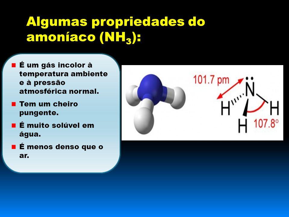 Algumas propriedades do amoníaco (NH3):
