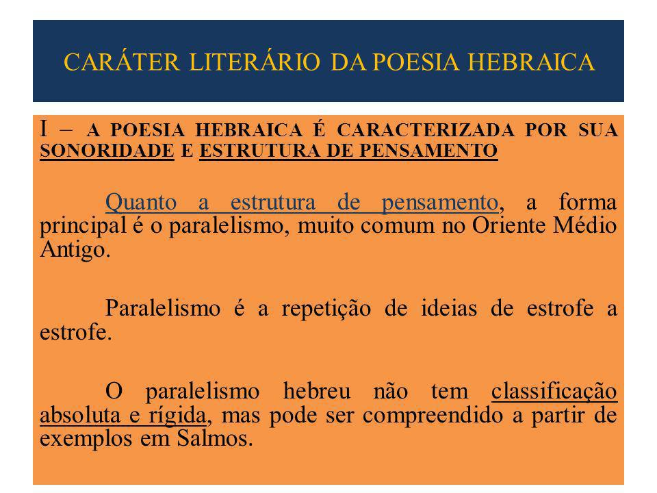 CARÁTER LITERÁRIO DA POESIA HEBRAICA