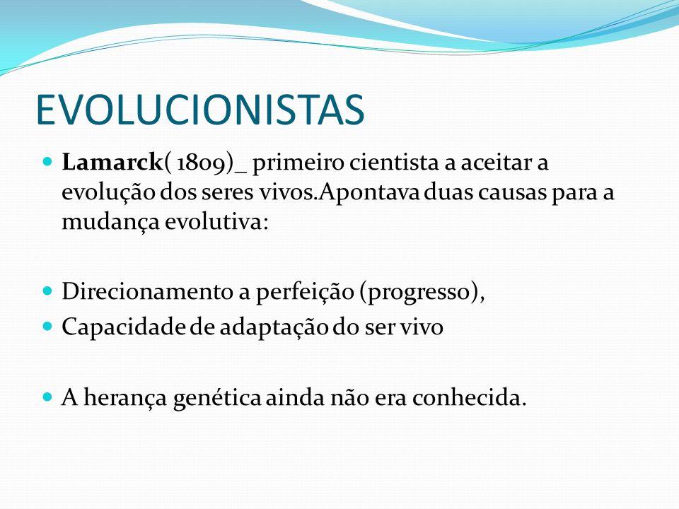 EVOLUCIONISTAS Lamarck( 1809)_ primeiro cientista a aceitar a evolução dos seres vivos.Apontava duas causas para a mudança evolutiva: