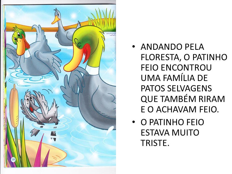 ANDANDO PELA FLORESTA, O PATINHO FEIO ENCONTROU UMA FAMÍLIA DE PATOS SELVAGENS QUE TAMBÉM RIRAM E O ACHAVAM FEIO.