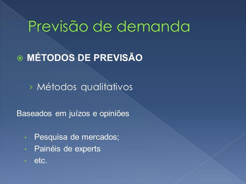 Previsão de demanda MÉTODOS DE PREVISÃO Métodos qualitativos