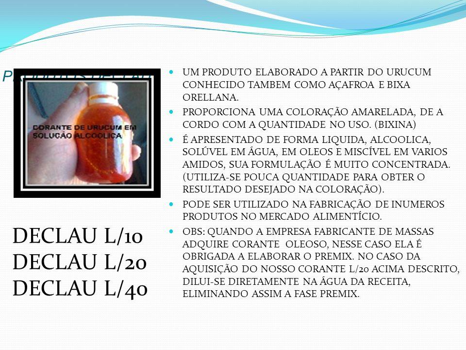 DECLAU L/10 DECLAU L/20 DECLAU L/40 PRODUTOS DECLAU