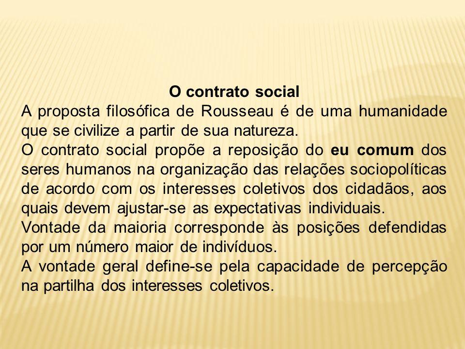 O contrato social A proposta filosófica de Rousseau é de uma humanidade que se civilize a partir de sua natureza.