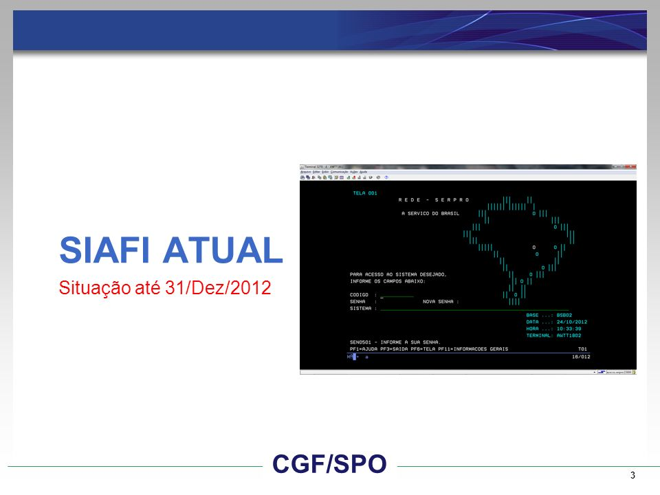 SIAFI ATUAL Situação até 31/Dez/2012 CGF/SPO CGF/SPO 3