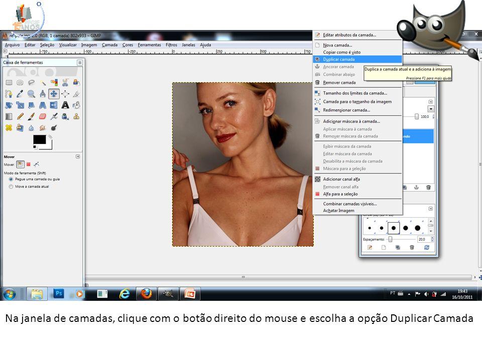 Na janela de camadas, clique com o botão direito do mouse e escolha a opção Duplicar Camada
