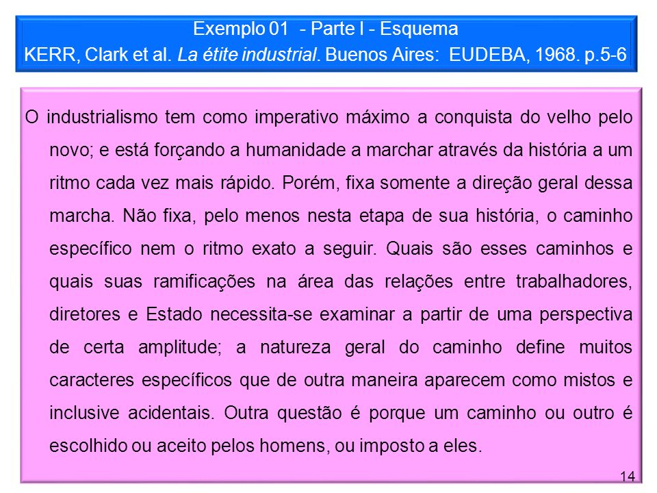 Exemplo 01 - Parte I - Esquema KERR, Clark et al. La étite industrial