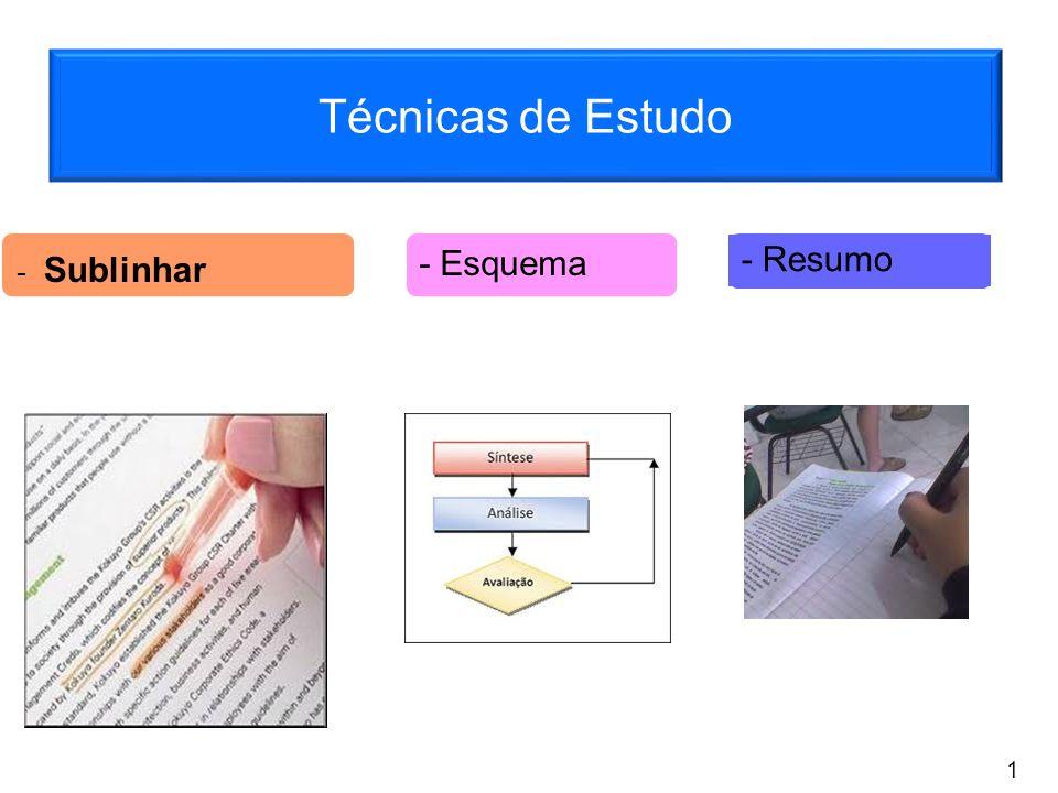 Técnicas de Estudo - Sublinhar - Esquema - Resumo 1