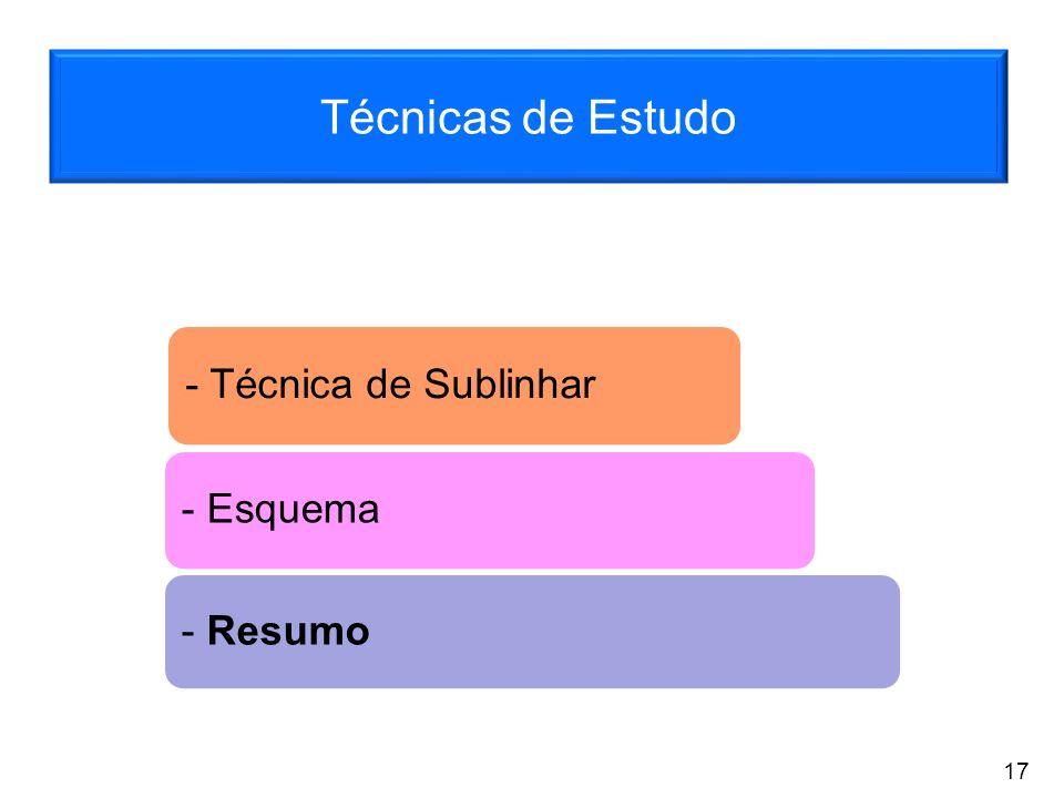 Técnicas de Estudo - Técnica de Sublinhar - Esquema - Resumo 17
