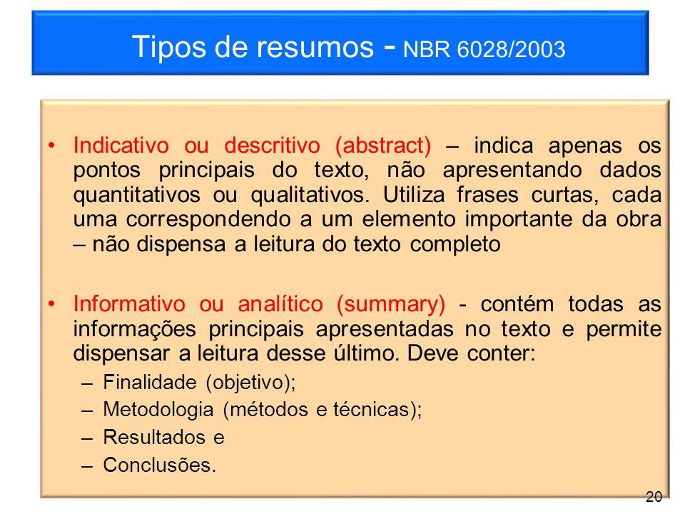 Tipos de resumos - NBR 6028/2003