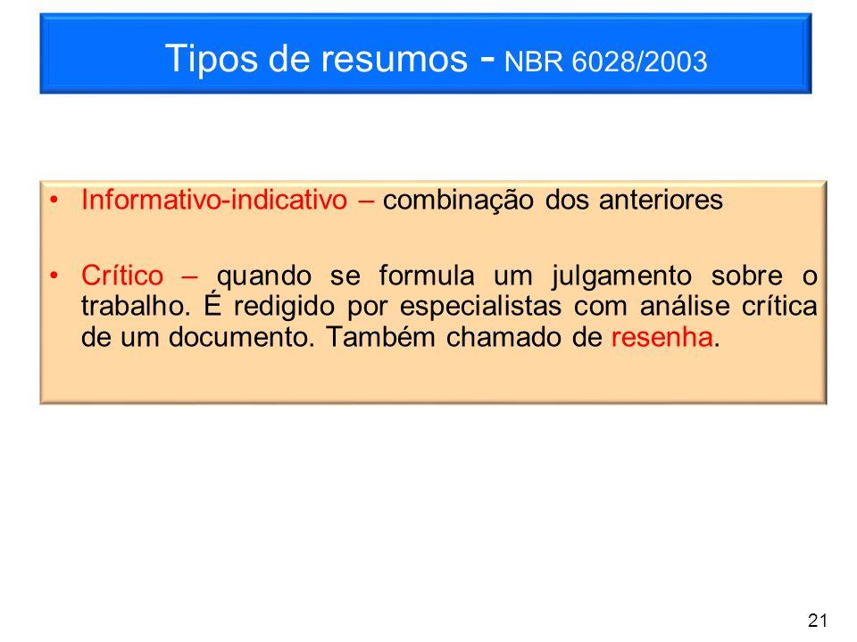 Tipos de resumos - NBR 6028/2003 Informativo-indicativo – combinação dos anteriores.