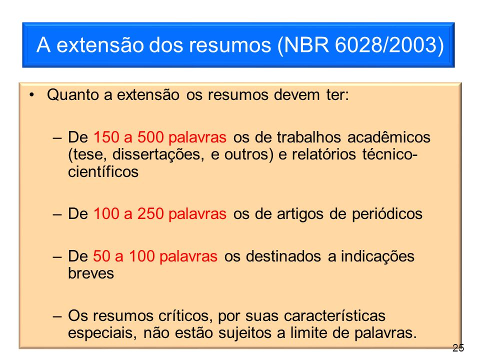 A extensão dos resumos (NBR 6028/2003)