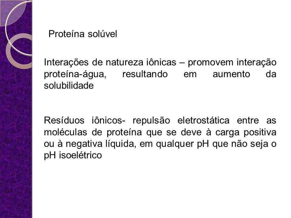 Proteína solúvel Interações de natureza iônicas – promovem interação proteína-água, resultando em aumento da solubilidade.