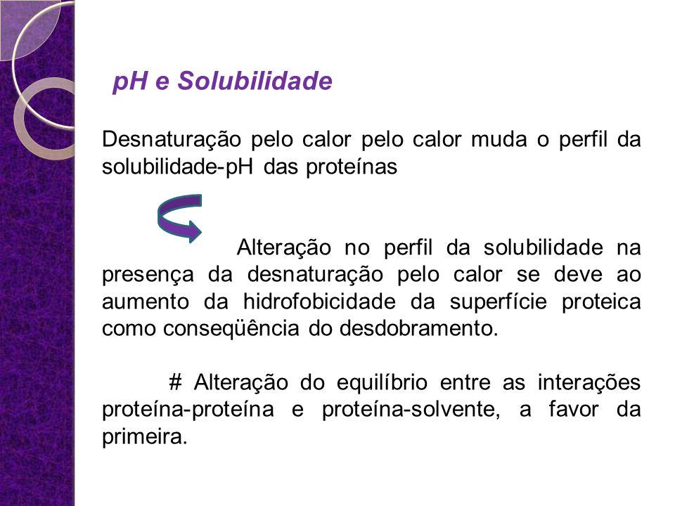 pH e Solubilidade Desnaturação pelo calor pelo calor muda o perfil da solubilidade-pH das proteínas.